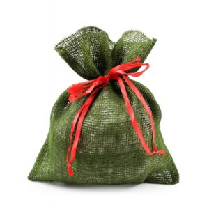 Jutové vrece na darčeky JUTA_DEK.W12_26x30 – zelené